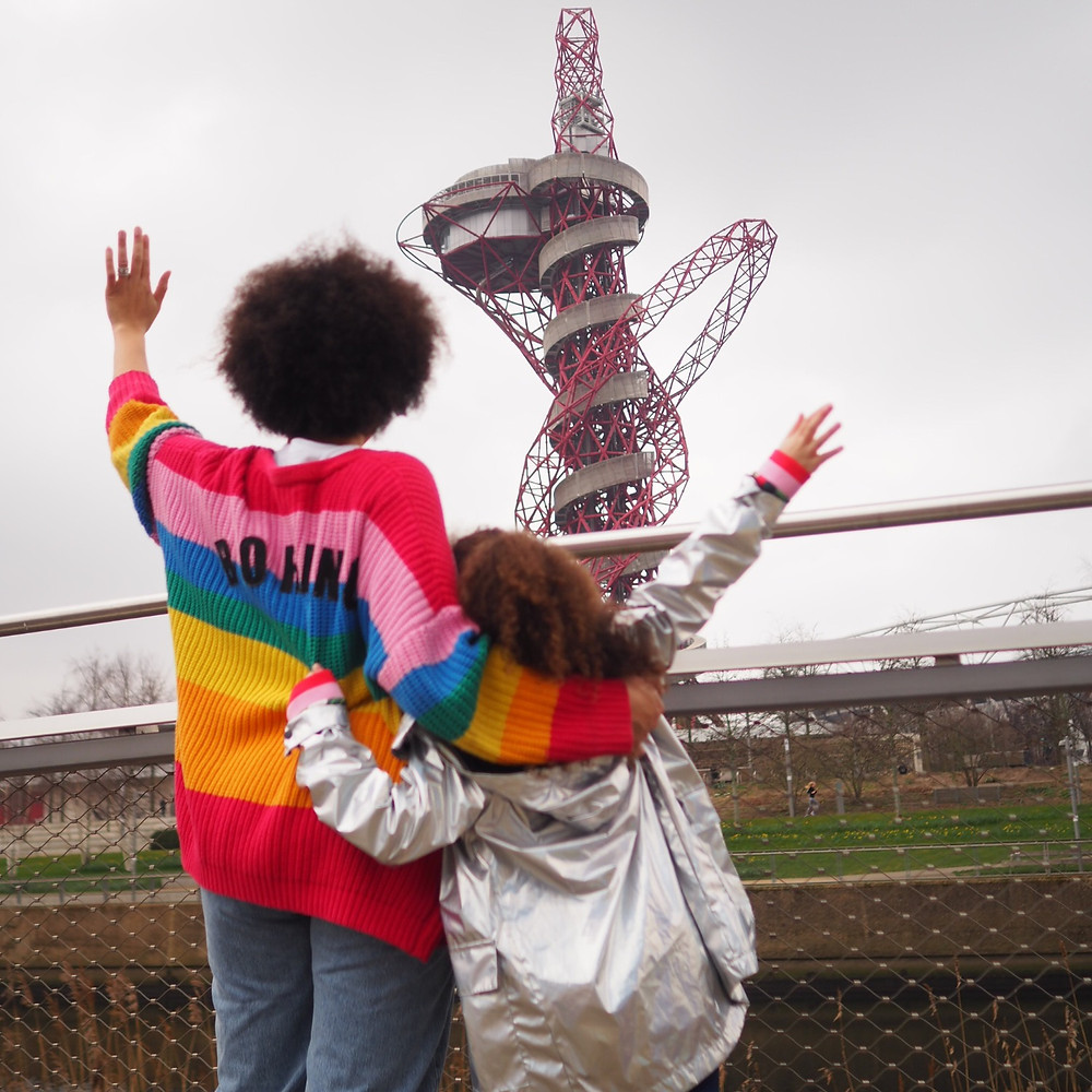Nat from Style Me Sunday and her little girl looking at the Orbit at The Queen Elizabeth Olympic Park