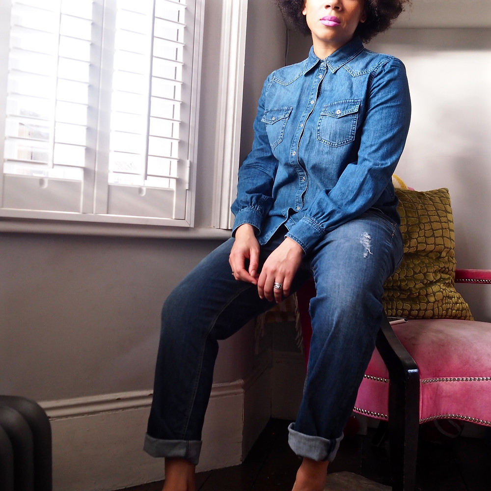 Nat from Style Me Sunday in AND/OR denim shirt and boyfriend jeans