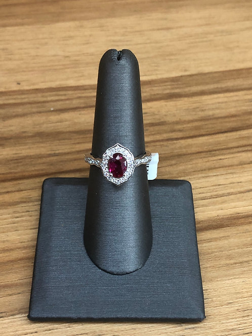1.25 ctw ruby and diamond ring