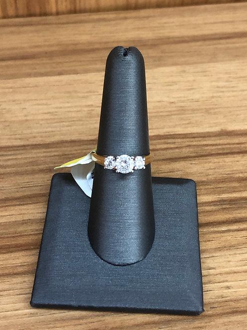1.00 ctw round 3 stone ring