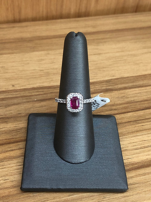 1.08 ctw ruby and diamond ring