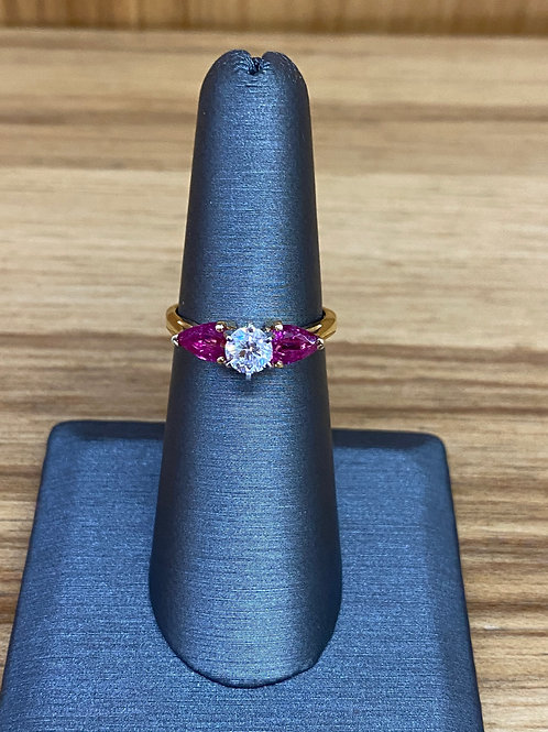 1.43 ctw diamond and ruby engagement ring