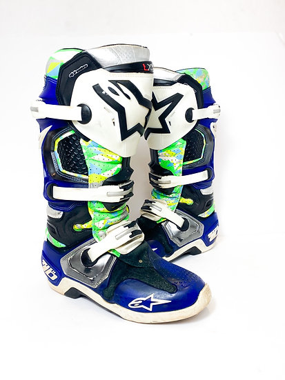 "Alpinestars Tech 10 Unreleased Athlete Only ""Vegas"" green/blue camo boots Size 9"