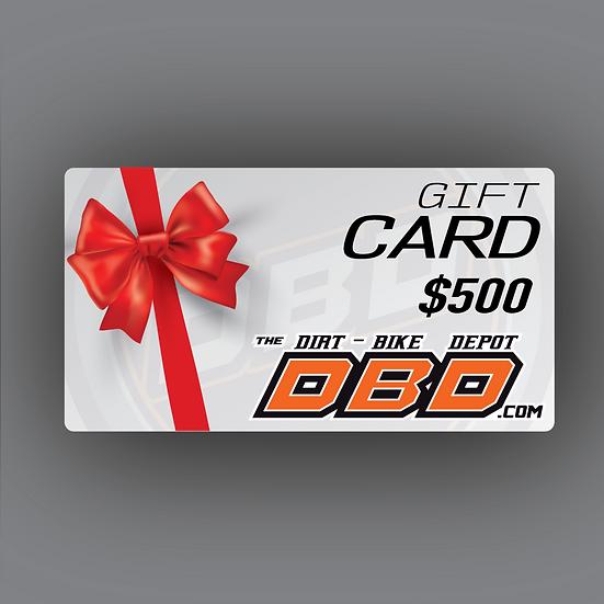 The Dirt Bike Depot Official Gift Card ($500)