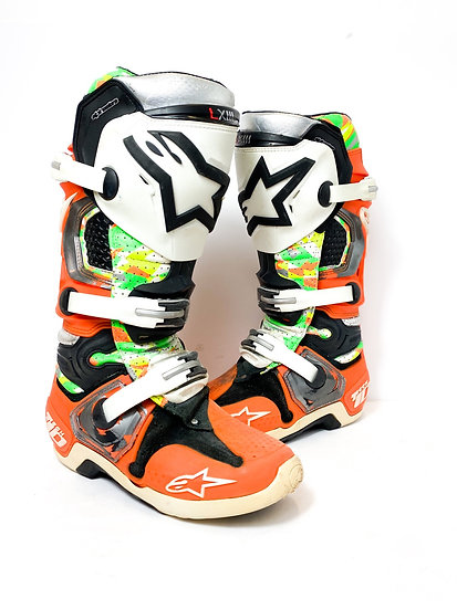 "Alpinestars Tech 10 athlete only ""Vegas"" green camo/chrome orange boots Size 7"