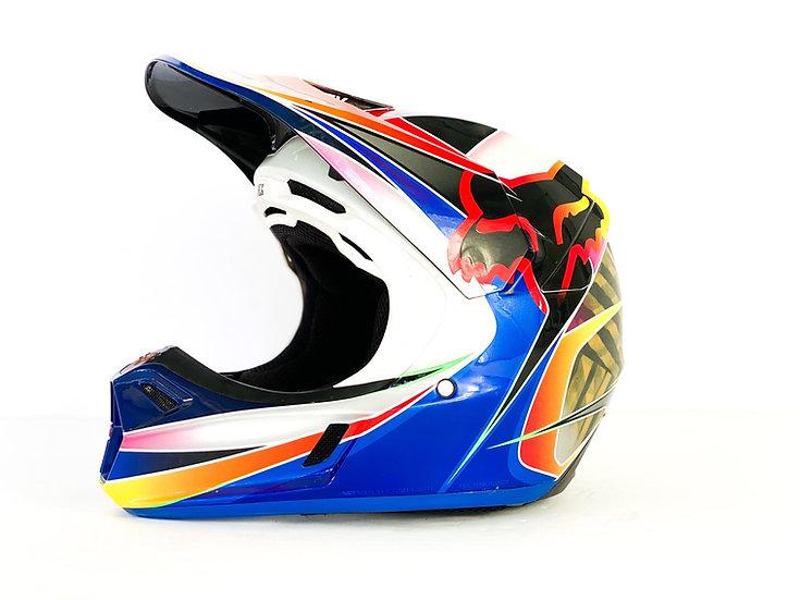 "Fox V3 ""Kustm"" blue/red helmet Size Medium"