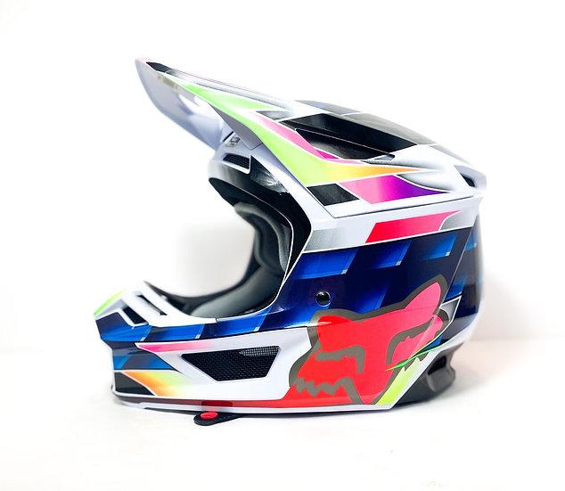"""Fox V2 """"Kresa"""" blue/multi helmet Size Large"""