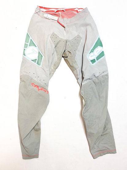 "Seven MX ""Zero"" teal/white pants Size 28"