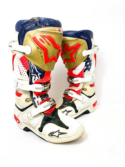 Alpinestars Tech 10 gold/navy boots Size 7