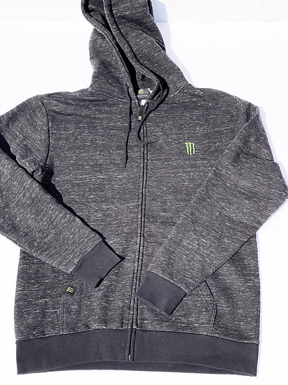 """Monster Energy """"athlete only"""" grey zip up hoodie Size Small"""