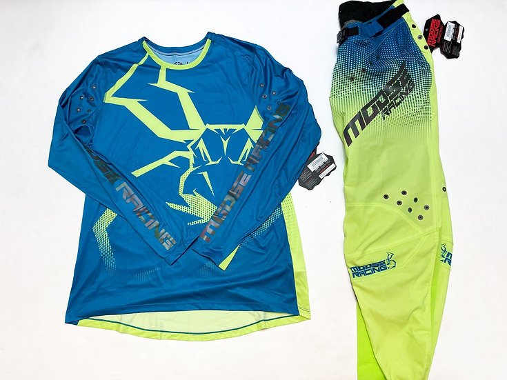 Moose Agroid teal/volt gear combo BRAND NEW (34/L)