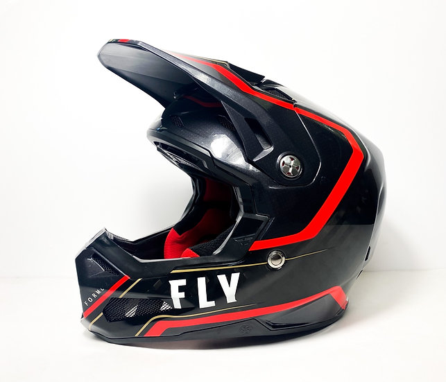 """2022 Fly Formula Carbon """"Axon"""" black/red/gold Helmet Size Small"""