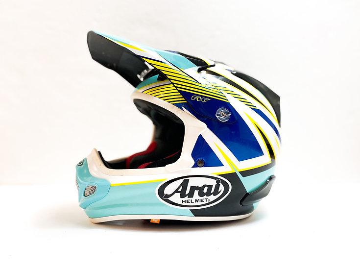 """Arai VX-Pro 4 teal/yellow """"Strike"""" helmet Size Medium"""