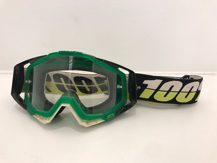 100% racecraft mx goggle green/white