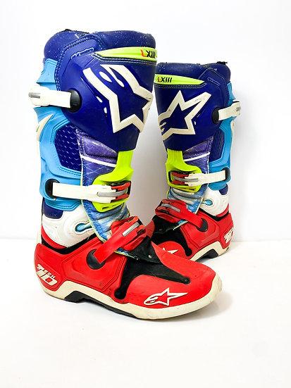 "Alpinestars Tech 10 ""Venom"" red/blue boots Size 10"