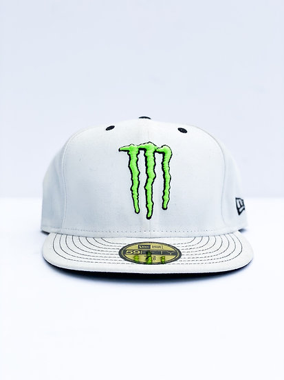 Monster Energy Athlete only fitted hat white Size 7 3/8