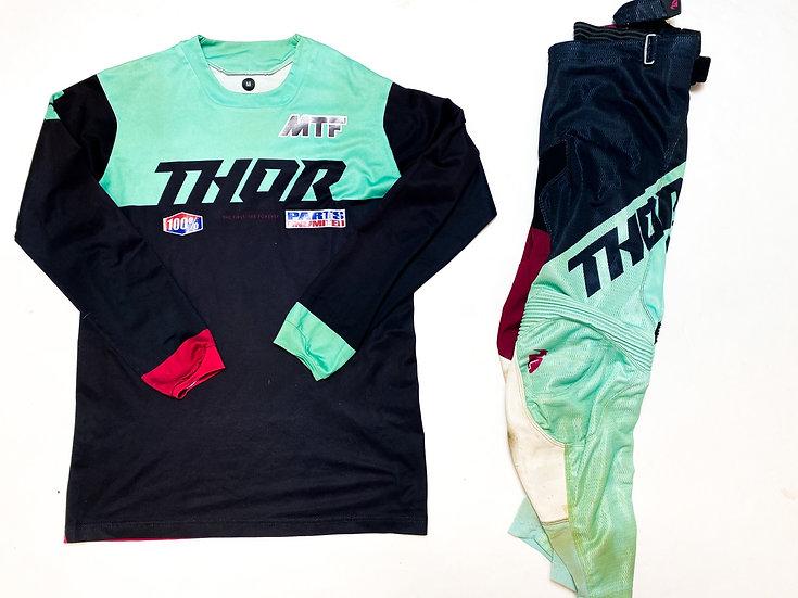 "Thor MX ""Pulse"" maroon/teal gear combo (32/M)"