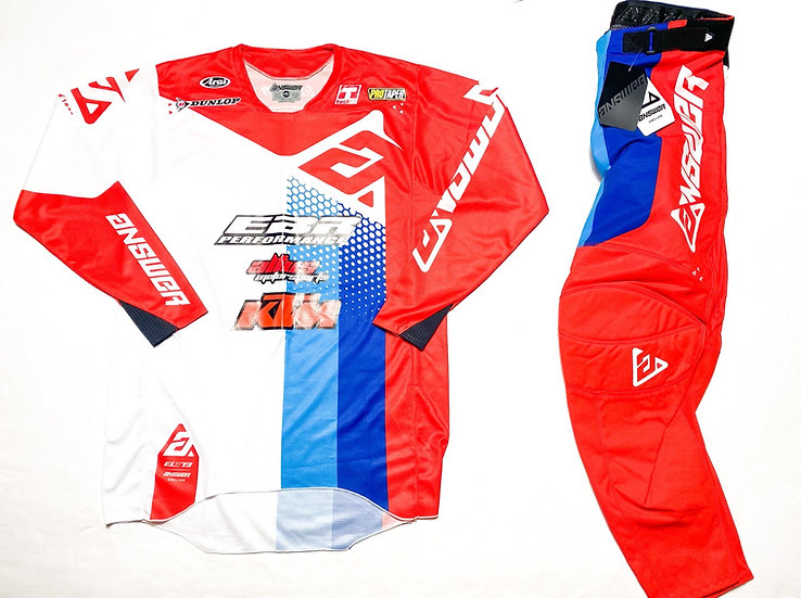 """Answer Racing Elite """"Pace"""" red/blue gear combo BRAND NEW  (32/M)"""