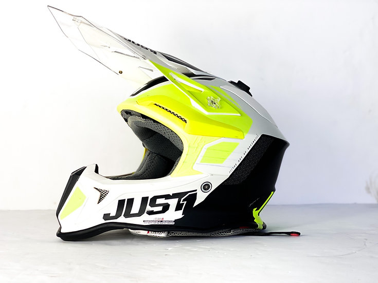 JUST1 MX Helmet volt yellow/white Size Small