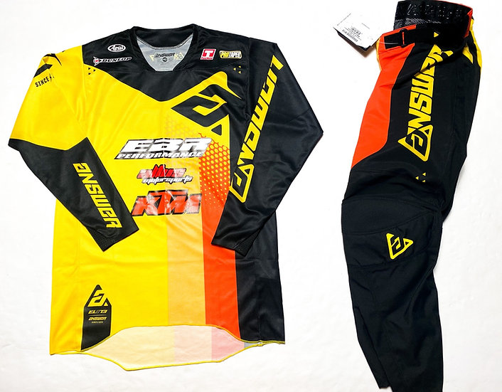 """Answer Racing Elite """"Pace"""" yellow/black gear combo BRAND NEW  (32/M)"""