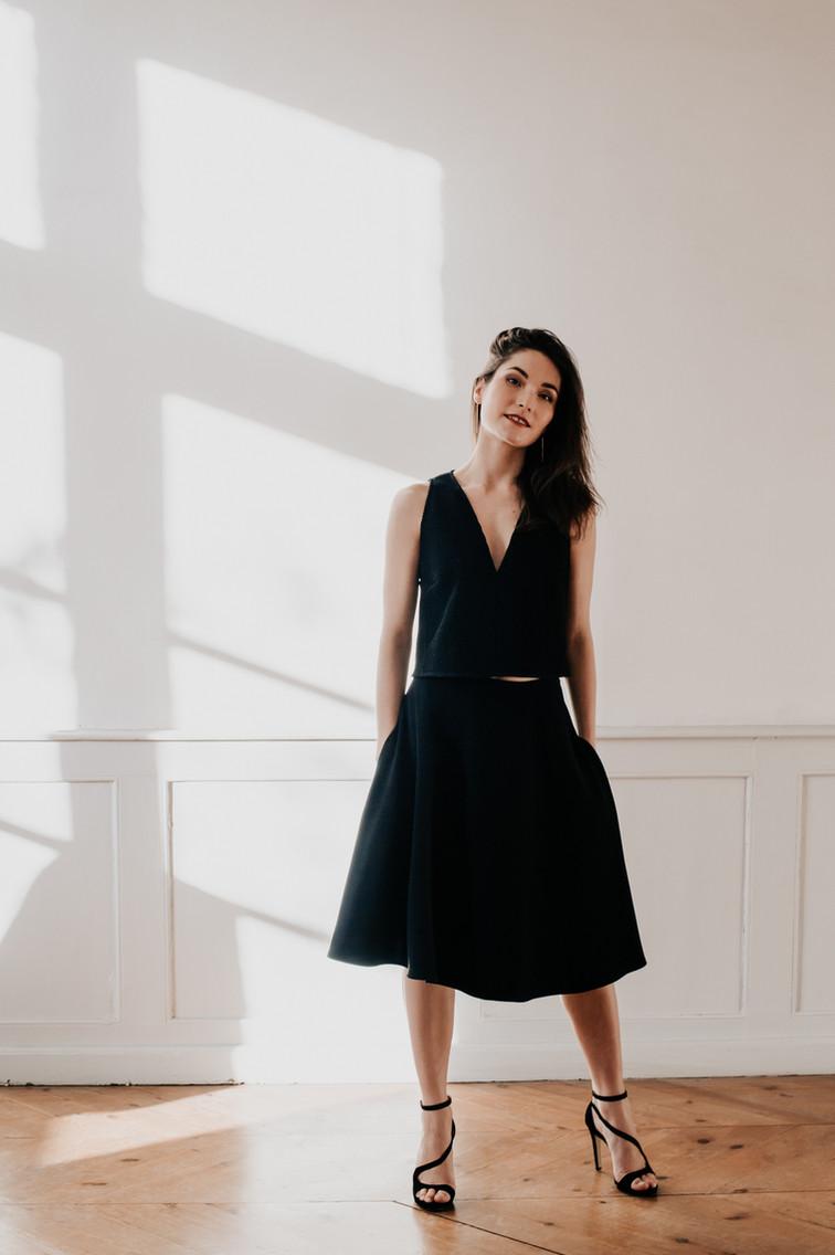 Ensemble GALLA top et jupe de créateur, Delphine Josse, boutique de robe à Toulouse.