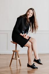 Ensemble KENNEDY  , pull et jupe chic et confortable, créateur Delphine Josse, boutique de robe  à Toulouse.