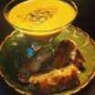 Pumpkin soup with brie grilled cheese