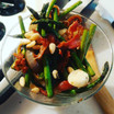 Sauteed asparagus with inions, garlic, and bacon