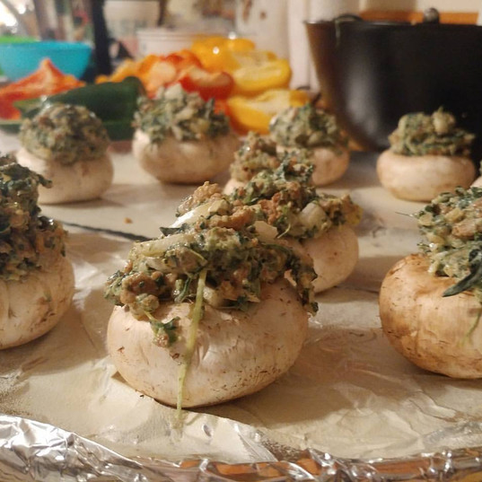 Sausage and spinach stuffed mushrooms.