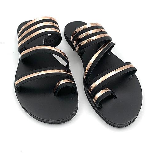 """Dalida"" sandals blak - gold"