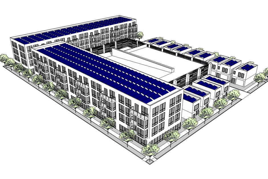 Large Scale Multifamily and single family townhomes around parking garage.jpg