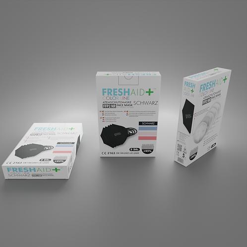 FreshAid+ FFP2 Masken schwarz - 5er Pack