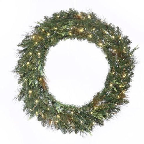 "LED 60"" MIXED CEDAR PINE WREATH CONCAVE (WARM WHITE)"