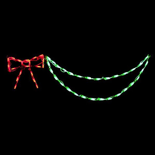 LED BOW WITH GARLAND (RED/GREEN)