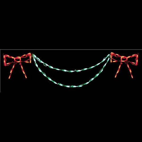 LED BOW WITH GARLAND END PIECE (RED/GREEN)