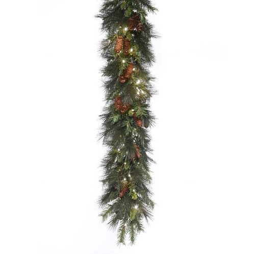 LED 9' Mixed Noble Garland with White Concaves