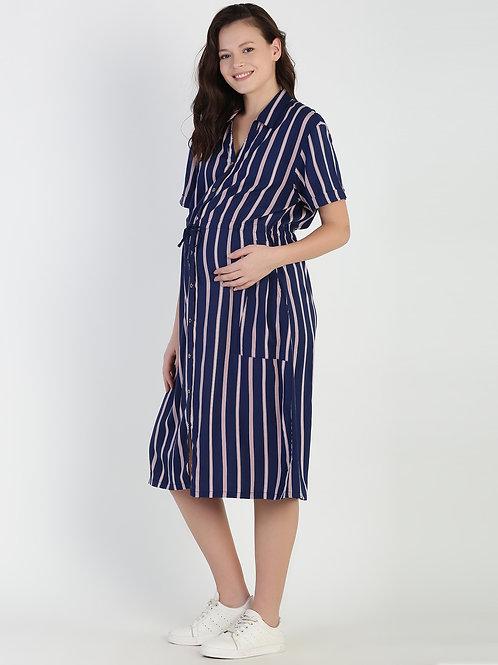 Stripes Shirt Dress, Color Navy