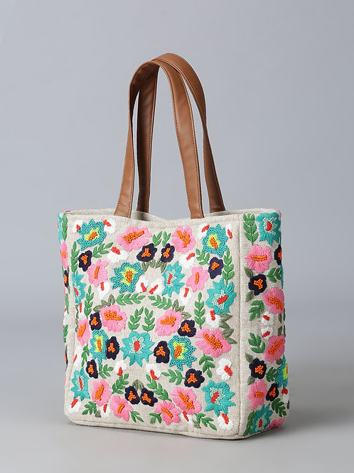 Purple Flaunt Handcrafted Floral Jute Bag