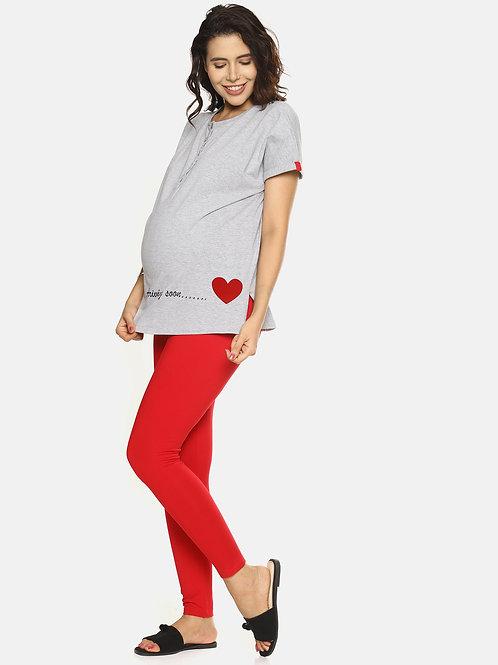 Trendy Maternity Leggings - Red