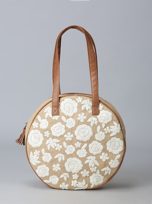 Purple Flaunt Floral Embroidered Round Jute Bag