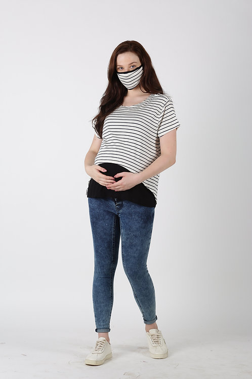 Maternity Nursing Top,Black & Off White(includes Matching Mask)