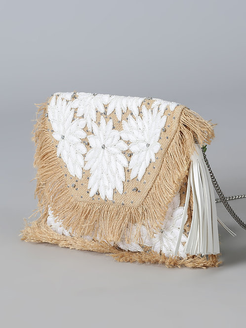 Purple Flaunt White Floral Embroidered Jute Bag