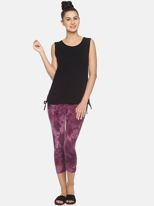 Trendy Tie & Dyed Leggings - Burgandy