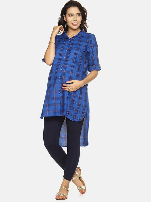 Woven Viscose Checked Maternity Tunic