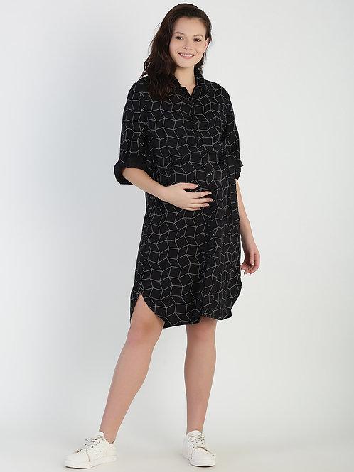 Shirt Dress, Color Black