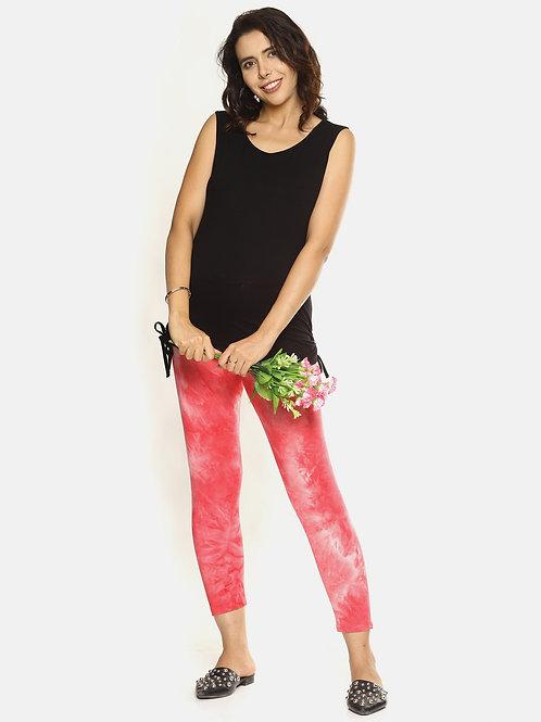 Trendy Tie & Dyed Leggings - Coral