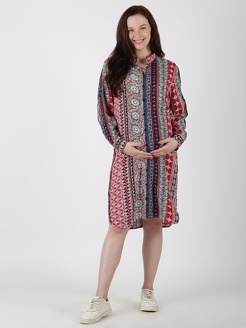 Paisley Printed Tunic with Roll Up Sleeve