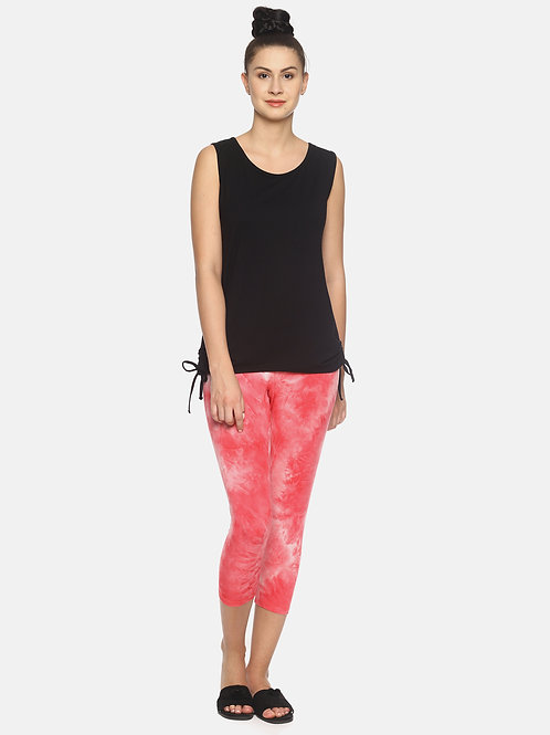 Trendy Tie & Dyed Leggings - Coral