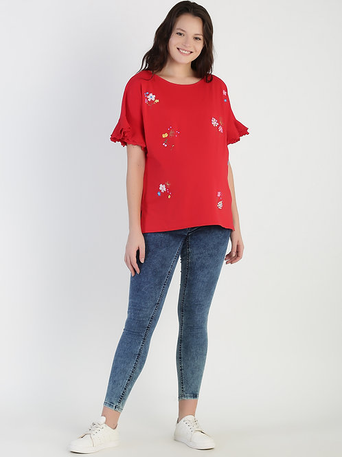 Printed Tee, Color Red