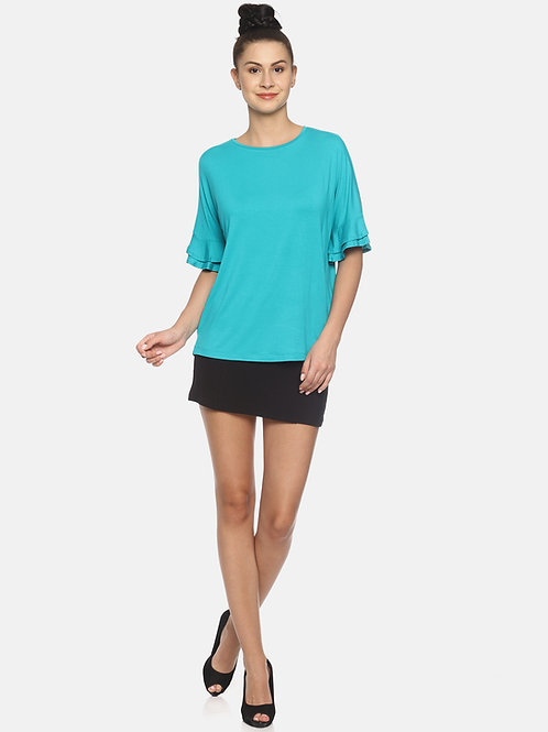Double Frill Top - Teal